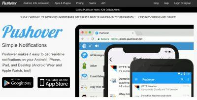 pushover.net für notifications auf dem Smartphone