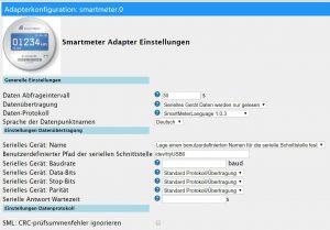 Smartmeter Adapter für ioBroker, Einstellungen