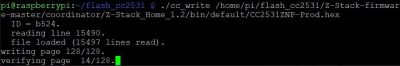 Firmware nach flashen wird geprüft