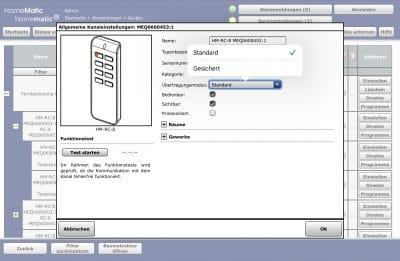 Homematic Geräte Einstellungen für press_cont je Tasterkanal