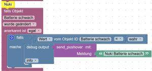Batterie Alarm Nuki smartes Türschloss Blockly ioBroker