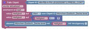 Blockly Script für das Dimmen von Lampen mit Homematic