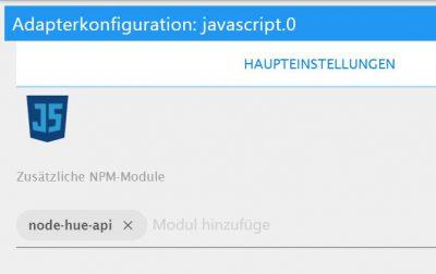 node-hue-api in Javascript Adapter einbinden