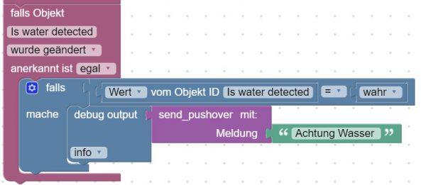 Blockly Script für Wasser Alarm mit Xiaomi Water Leak sensor