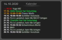 Kalendereinträge in ioBroker VIS-Oberfläche