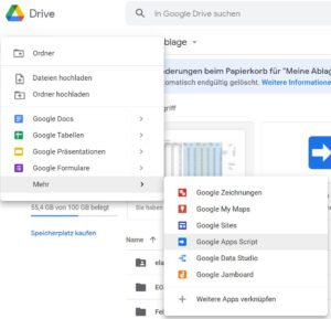 In Google Drive ein neues Google Apps Script anlegen