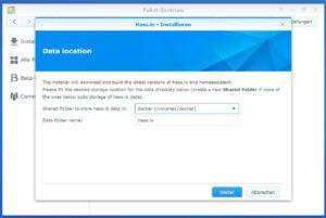 Home Assistant auf Synology installieren, shared folder auswählen