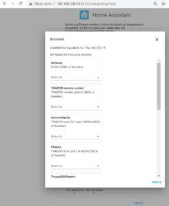 Home assistant Ikea Tradfri identifizierte Geräte