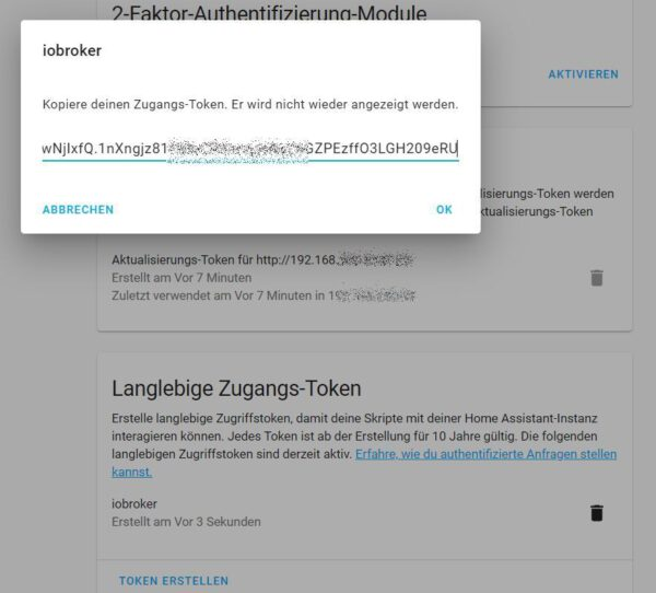 Langlebieger Token für ioBroker in Home assistant erstellt