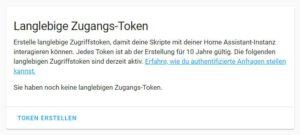 Langlebieger Token für ioBroker in Home assistant erstellen