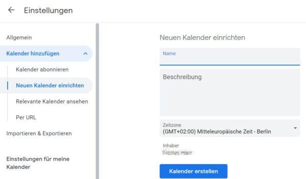 Neuen Google Kalender für Geburtstage erstellen