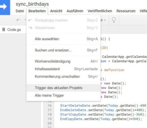 Trigger für Google App Script anlegen