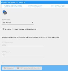 Shelly Adapter Konfiguration in ioBroker