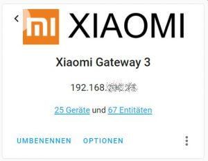 Xiami Gateway 3 in Home Assistant