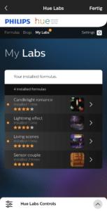 Meine Formeln in hue labs
