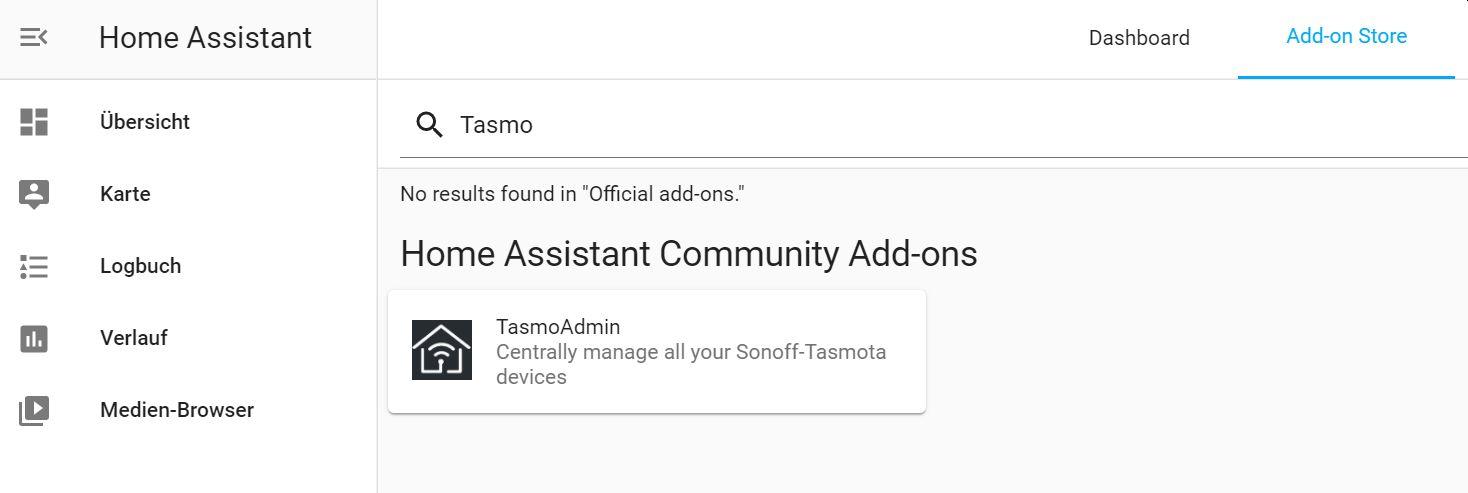 TasmoAdmin im Add-on Store suchen