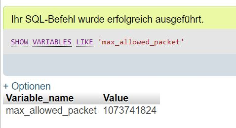 SQL Abfrage max_allowed_packet