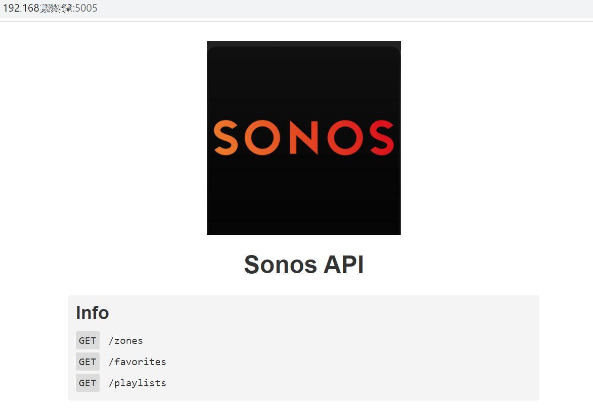 Sonos HTTP API Startseite