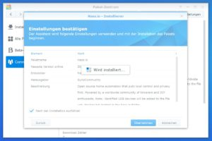Home Assistant Synology wird installiert