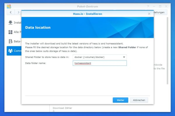 Home Assistant Synology Installationspfad wählen