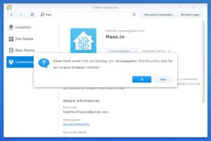 Home Assistant Synology Installation starten