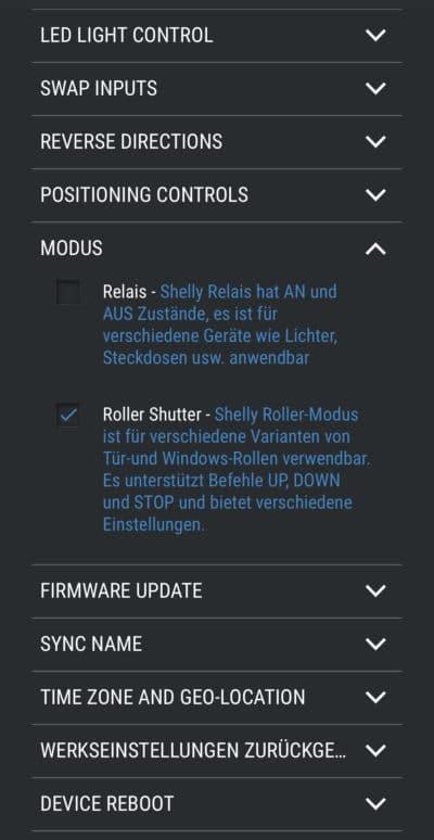 Shelly 2.5 Konfiguration Modus