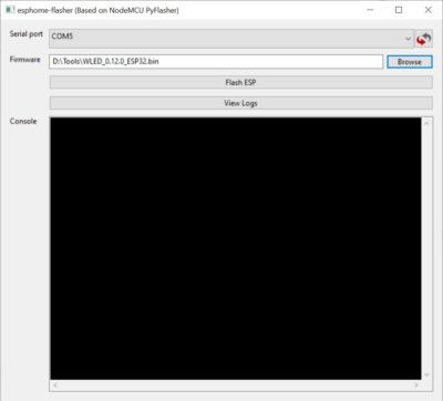 ESPHome Flasher Port und Firmware auswählen