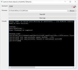 ESPHome Flasher WLED Firmware flash abgeschlossen
