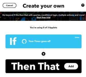 Applet in IFTTT anlegen, Then auswählen