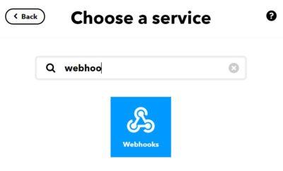 Applet in IFTTT anlegen, Then webhook auswählen