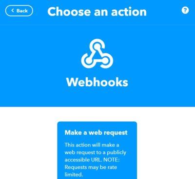 Applet in IFTTT anlegen, Then webhook request auswählen