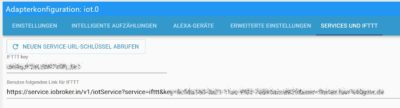 IoT Adapter in ioBroker mit IFTTT-Key konfigurieren
