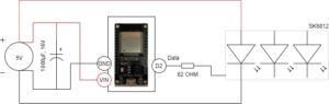 Schaltplan ESP32 mit WLED für SK6812