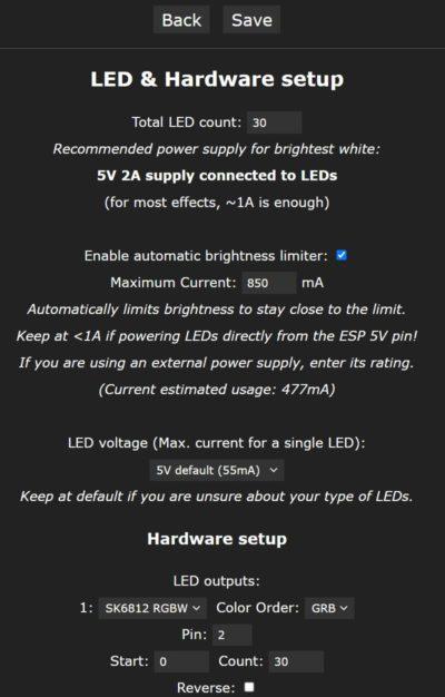 WLED Einstellungen LED Strip