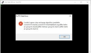 Fehlermeldung putty SSH auf Synology