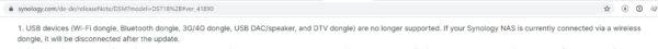 DSM 7 Release Info keine Unterstützung USB Devices